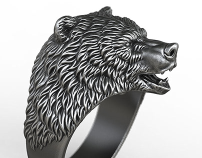 Brown Bear ring, jewelry design