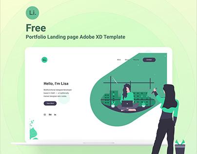 Free Portfolio Landing Page Template - Adobe XD