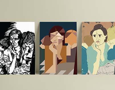 """Migrant mother "" Illustration styles. Dorothea Lange"