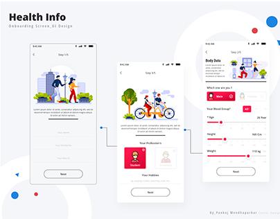 Health Info_Onboarding UI Screen