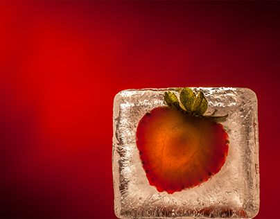 Fruit slices in ice cubes
