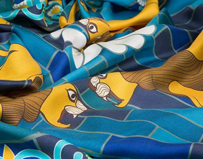 OSHEQ limited edition silk scarves | Babylon