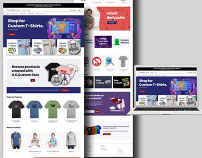 Custom Tee Brand Homepage Design