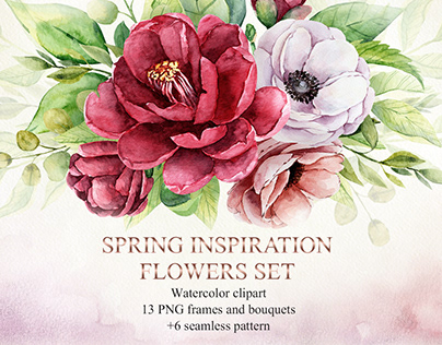 Spring inspiration watercolor flowers set