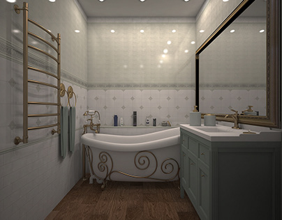 Bathroom design in Provence style.