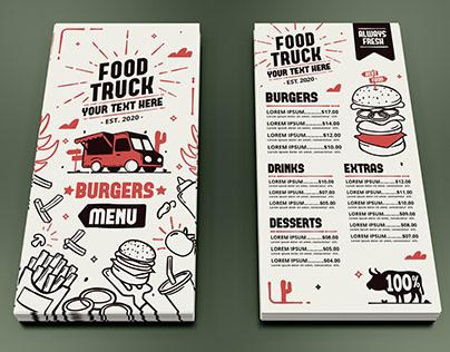 Food truck Burger Menu Design