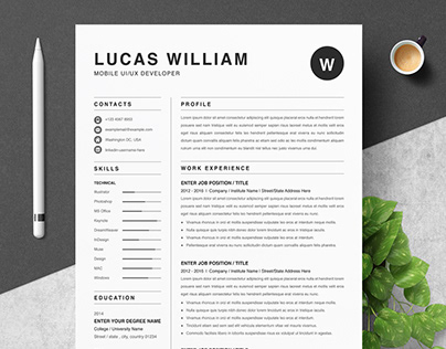 Resume Template for MS Word & Pages