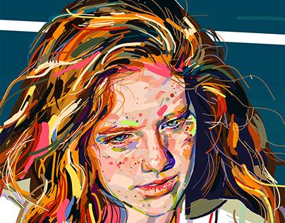 Tennis girl - digital study, Ipad