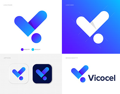 V+i Letter Logo - Vicocel Brand Identity Design