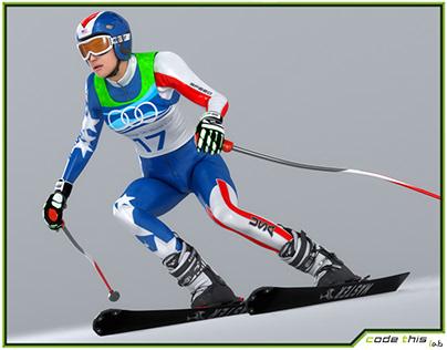 3D Model: Female Skier Animated HQ