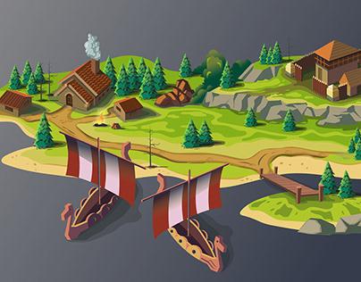 Viking island map, drawing process.