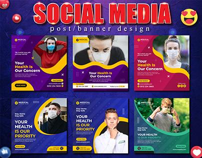 Medical Social Media Post & Square Flyer Templates