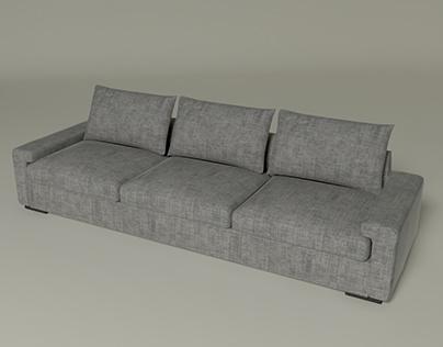 3D model of grey sofa. Furniture. Low poly