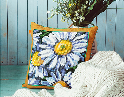 Hand made embroidered cushions with Flowers