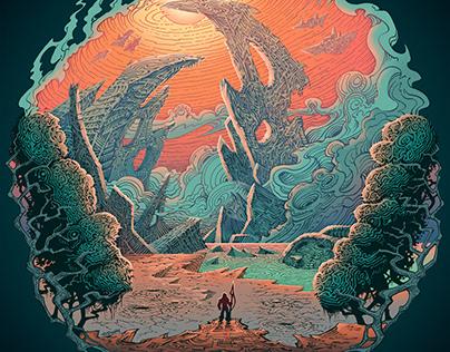 Album Cover Illustration, pen and ink + digital color