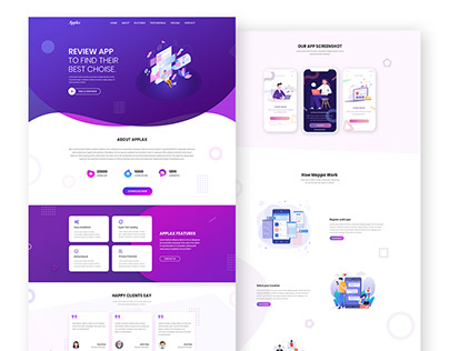 App landing page design for clients