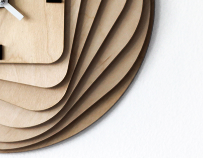 RoundSquare Wooden Clock