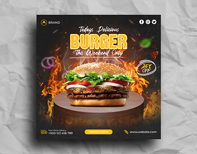 Delicious burger and food menu social media post
