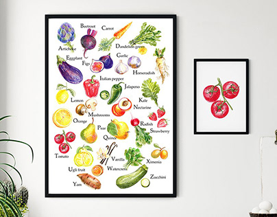 Alphabet poster with food