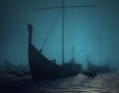Viking Ship - Blue Scenery