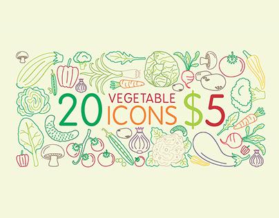 20 fresh vegetable icons