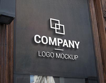 3D logo mockup dark surface