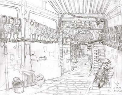 Beijing Hutong. Urban sketch.