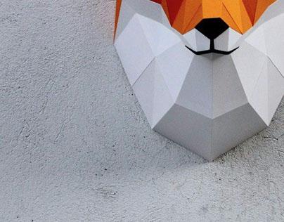 Papercraft fox head