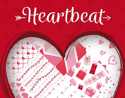 Heartbeat, Seamless Vector Patterns for Saint Valentine
