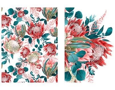 Protea seamless pattern.