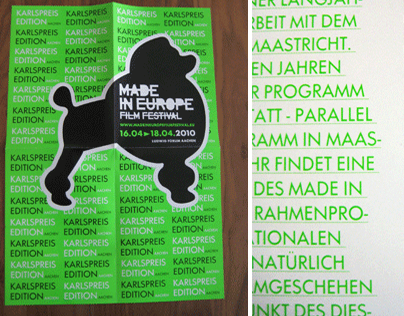 MADE IN EUROPE FILM FESTIVAL paper and invitation