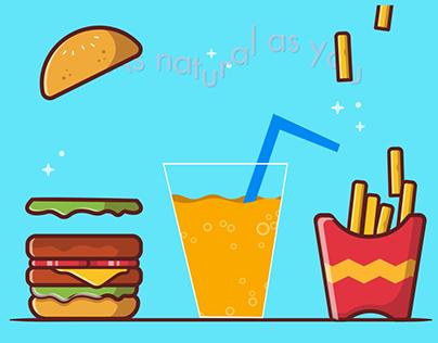 Fries. Burger, Juice Animated