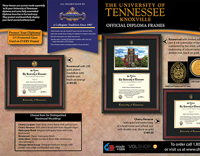 University of Tennessee brochure selling diploma frames