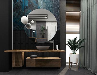 INTERIOR DESIGN. STYLISH BATHROOM. POLAND . WROCLAW