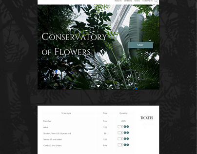 Conservatory of Flowers Website. Concept.