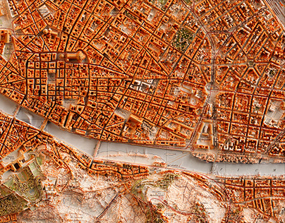 Cities - topographic 3D art map
