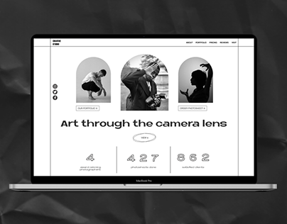Landing page for a photographic studio