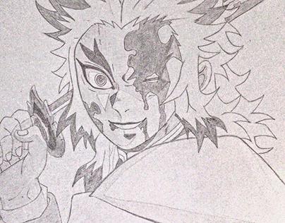 Rengoku kyojuro (pencil drawing)-A4,Kent paper
