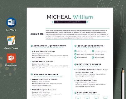 Clean Editable Resume Cv Template in Word Apple Pages