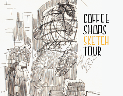 City's coffee shops sketches.