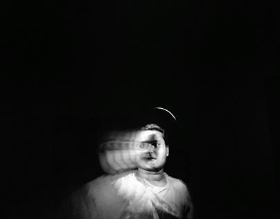 Artistic self portrait in black and white canvas