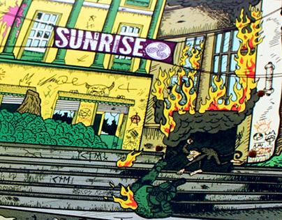 ILUSTRACION TABLA SUNRISE SKATEBOARD