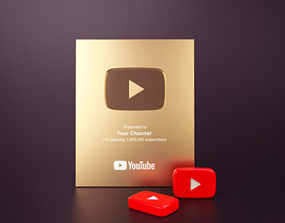 YouTube Play Buttons Gold and Silver - Free Mockup