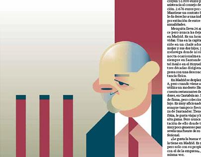 Vector portraits for printed press (El Diario Montañés)