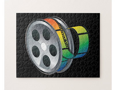 Movie reel with colorful tape