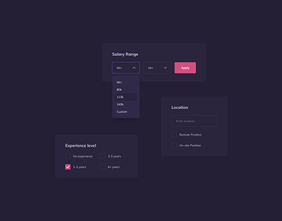 Day 1324・Dark Themed Filter UI Components Design