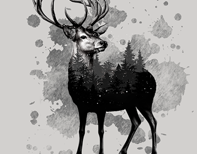 Deer, double exposure