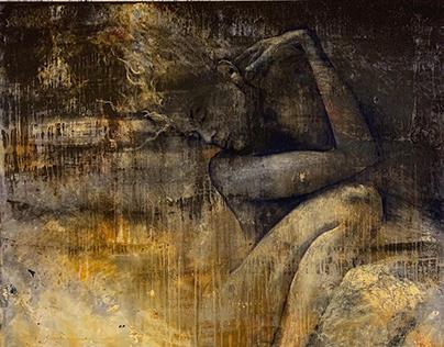 """Autumn girl"", 160 x 200 cm, acrylic painting, 2019 Dec"