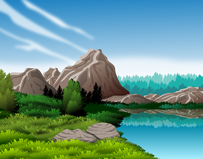 Landscape with lake and mountain