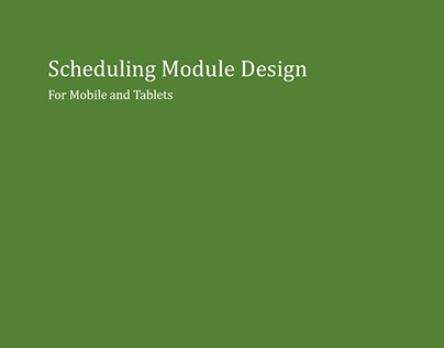 Scheduling Module Design for Biz Planning App